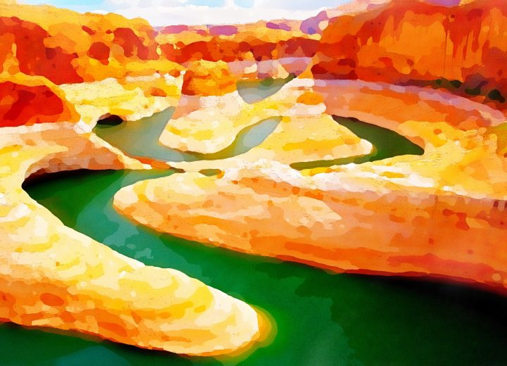 Canyon River watercolor by Dane Shakespear