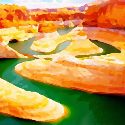 River Canyon - Watercolor by Dane Shakespear